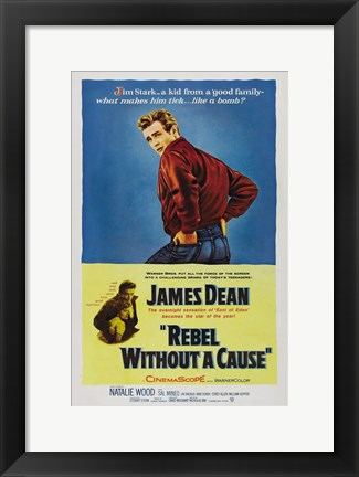 Framed Rebel Without a Cause Blue and Yellow Print