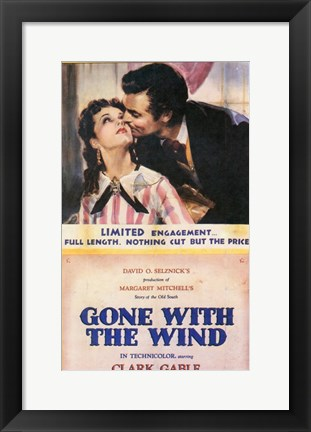 Framed Gone With The Wind Kiss on the Cheek Print