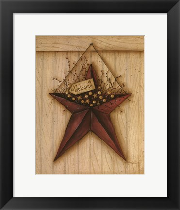 Framed Welcome Barn Star Print