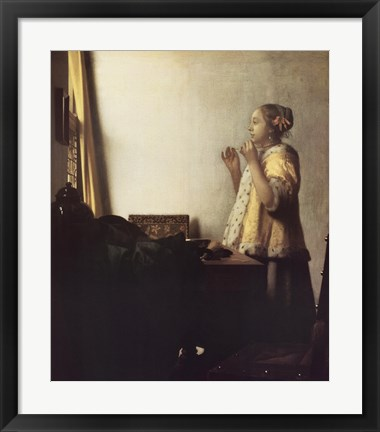 Framed Woman with a Pearl Necklace Print