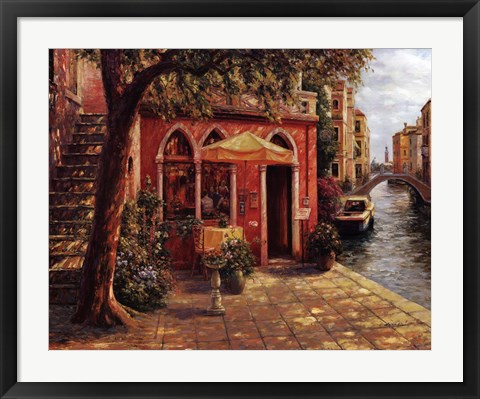 Framed Cafe with Stairway,Venice Print