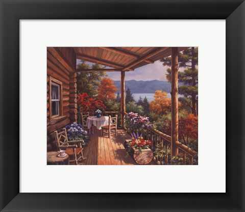 Framed Log Cabin Covered Porch Print