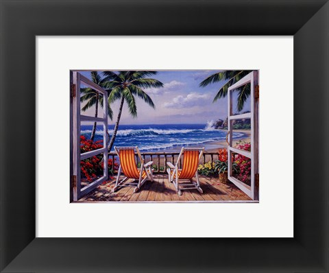 Framed Tropical Terrace for Two Print