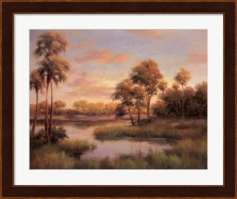 Framed River Cove With Palms II Print