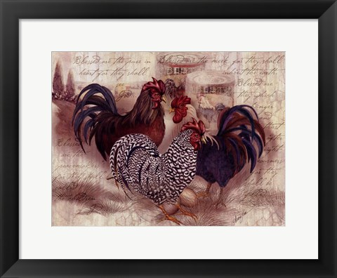 Framed Rooster Trinity Print
