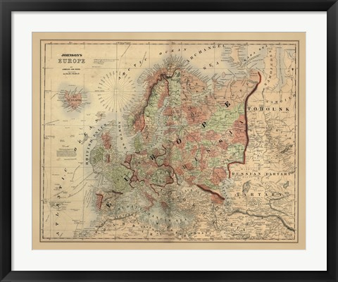 Framed Antique Map of Europe Print