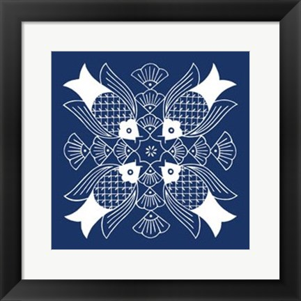 Framed Chinese Indigo Fish I Print