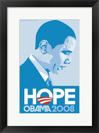 Framed Barack Obama - (Profile, Blue) Campaign Poster Print