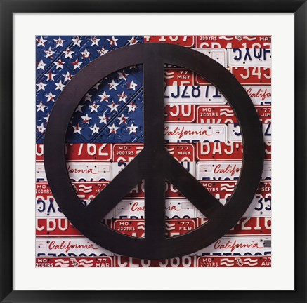 Framed American Flag Peace Sign Print