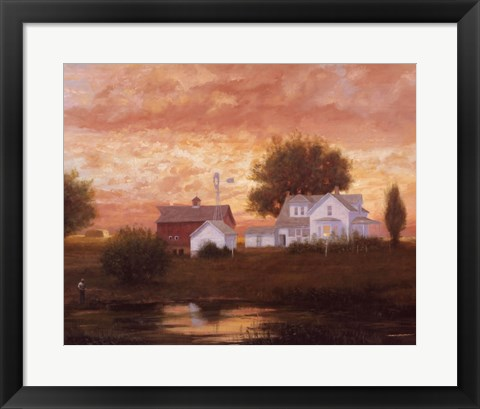 Framed Farm Pond Reflections Print