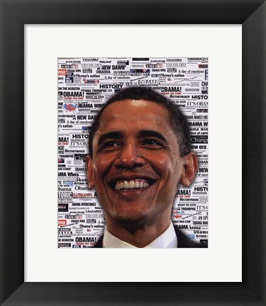 Framed Obama - Headlines Print