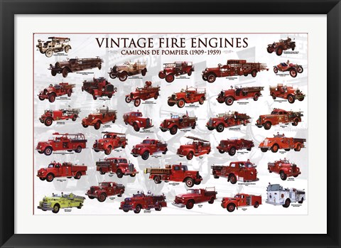 Framed Vintage Fire Engines Print