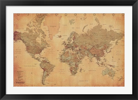 Framed Map of the World, vintage (mercator projection) Print
