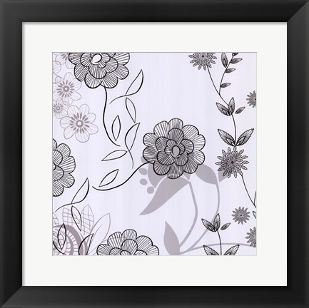 Framed White Lace Floral Print