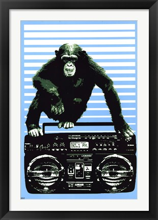 Framed Monkey Boom Box Print