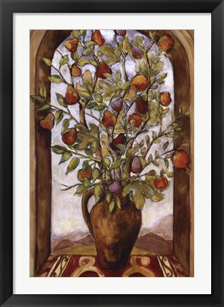 Framed Bouquet Of Figs, Pears And Pomegranates Print