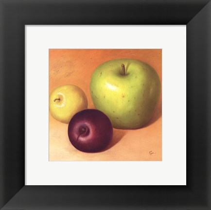 Framed Two Apples And A Plum Print