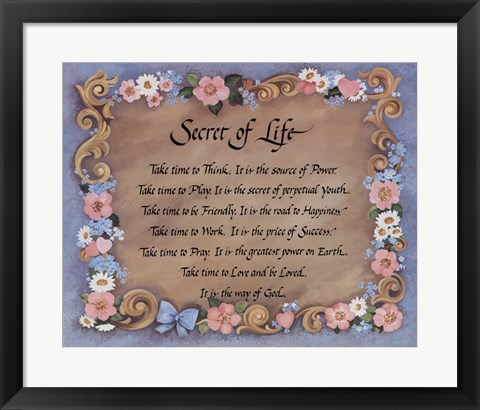 Framed Secret of Life Print