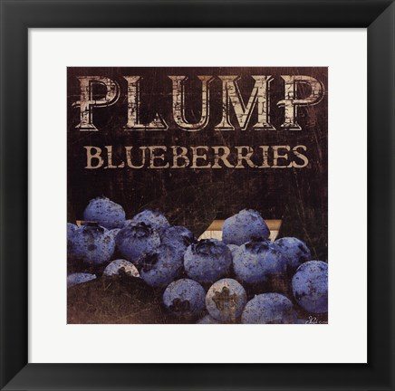 Framed Plump Blueberries Print