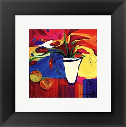 Framed Red Lillies With Oranges Print