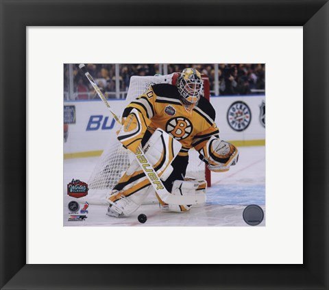 Framed Tim Thomas 2010 NHL Winter Classic Action Print
