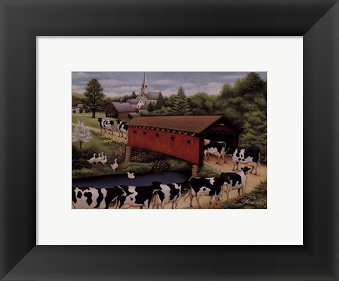 Framed Cows In West Arlington Print