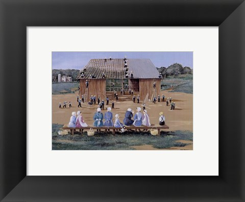 Framed Barn Raising Print