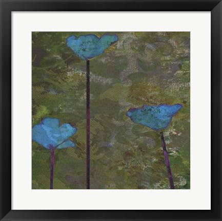 Framed Teal Poppies II Print