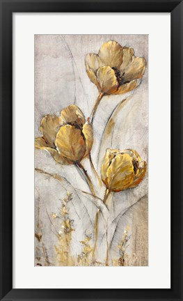 Framed Golden Poppies on Taupe I Print