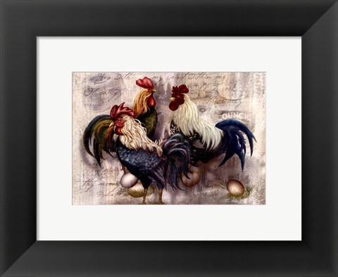 Framed Rooster Trio Print