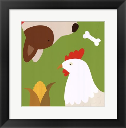 Framed Farm Group: Hen and Dog Print