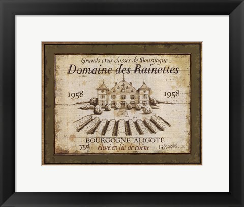 Framed French Wine Labels III Print