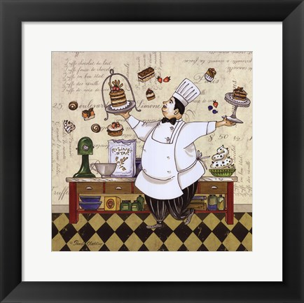 Framed Chef Pastry Print