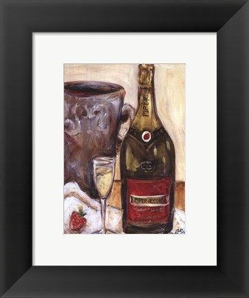 Framed Champagne And Strawberries Print
