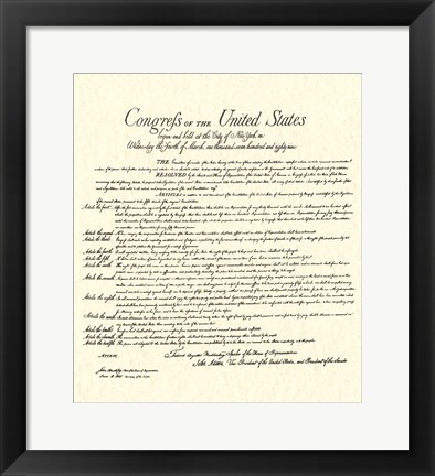 Framed Bill of Rights (Document) Print