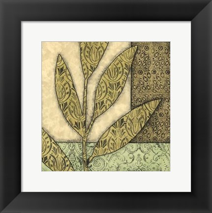 Framed Sm Green Leaves & Patterns I (P) Print