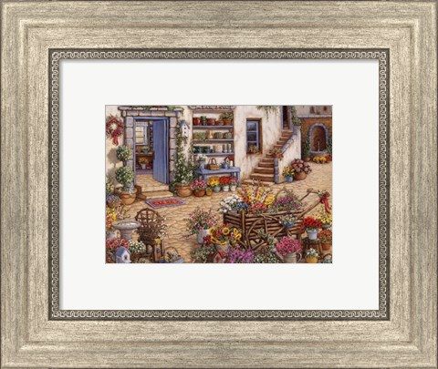 Framed Courtyard Flower Shoppe Print