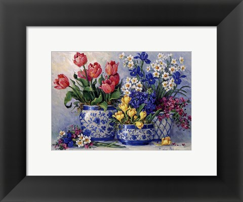 Framed Spring Garden In Blue I Print
