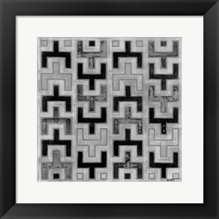 Framed Mudcloth Black & White I Print