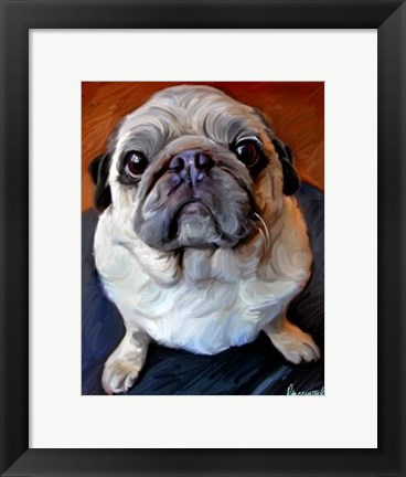 Framed Pug on a Rug Print