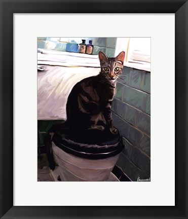 Framed Gray Tiger Cat on the Toilet Print