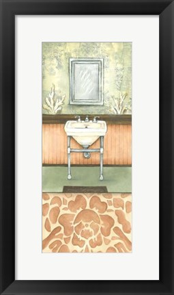 Framed Damask Bath II Print