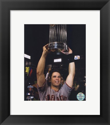 Framed Buster Posey With World Series Trophy Game Five of the 2010 World Series Print