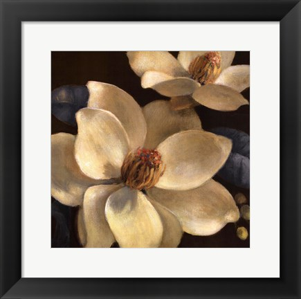 Framed Blooming Magnolias I Print