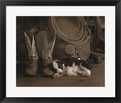 Framed Cowboy Puppy Print