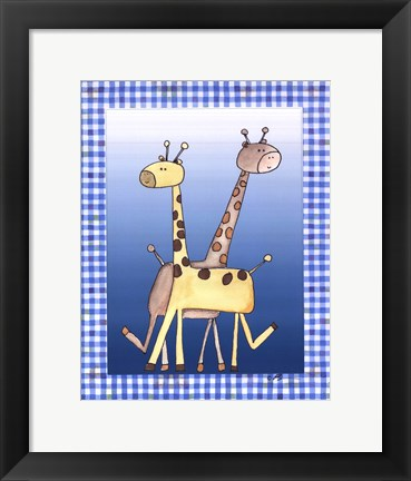 Framed Two by Two Blue - Giraffe Print