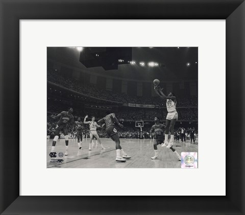 Framed Michael Jordan University of North Carolina Game winning basket in the 1982 NCAA Finals against Georgetown Horizontal Action Print