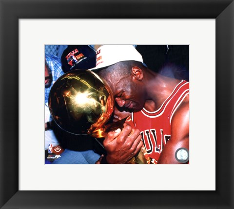 Framed Michael Jordan Game 5 of the 1991 NBA Finals with Championship Trophy Print