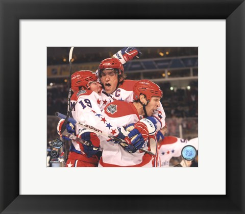 Framed Alex Ovechkin, Nicklas Backstrom, & Mike Knuble Celebrate 2011 NHL Winter Classic Print