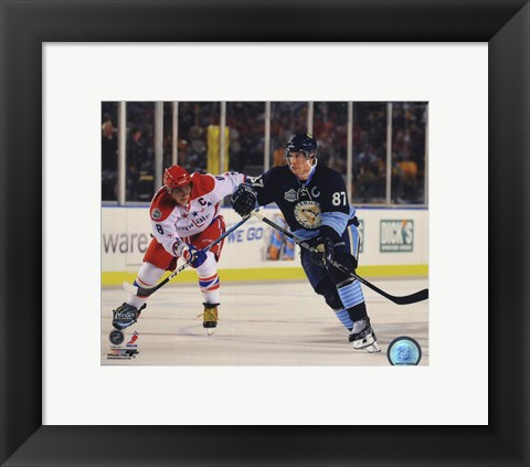 Framed Alex Ovechkin & Sidney Crosby 2011 NHL Winter Classic Action Print